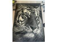 Tiger print monochrome rug