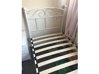 Cream single metal bed frame fantastic condition