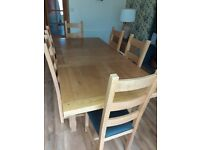 Extending Solid Oak Dining Table and Chairs
