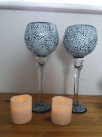 2 large grey glass elegant goblets with 2 battery operated candles