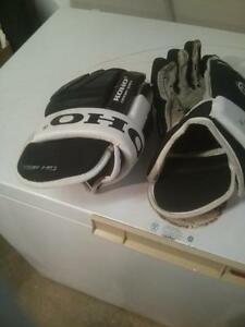 men's hockey gloves and neck guard.