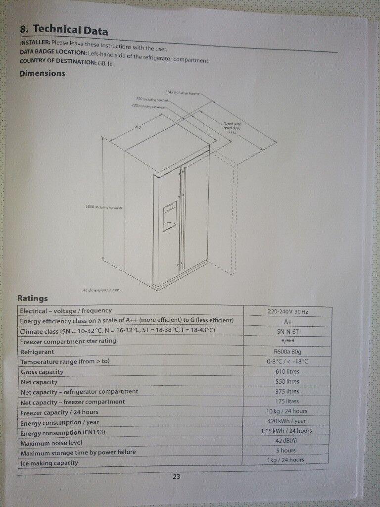 Rangemaster Eeetech American Style Fridge Freezer In Normanton 240 Volt Schematic Https Iebayimgcom 00 S Mtaynfg3njg