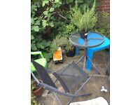 Garden or patio table and chair. Free to collector
