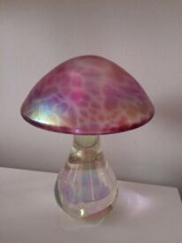 Heavy pink toadstool ornament