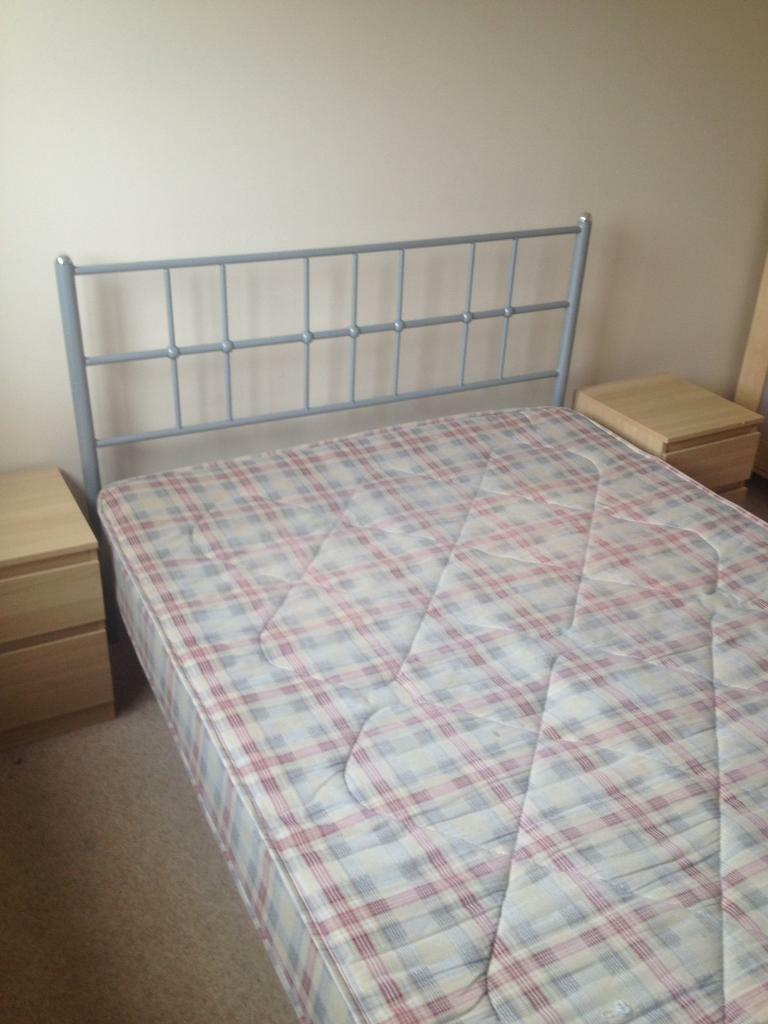 Bedroom furniture 125in Newton Mearns, GlasgowGumtree - Bedroom furniture £125 frame metal beds double & mattress &2 bedside 2 drawer & chest 5 drawer & wardrobe 2 door use in good condition. Work all drawer pick up or I can arrange delivery need vans call text email