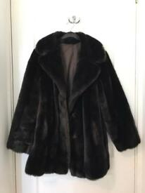 Brown Faux Fur Ladies Women's Coat Vintage 12-14