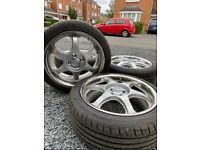 FULL SET OF 4 ALLOY WHEELS 17'' SPARCO FORGED ALLOYS 4 STUD WITH TYRES MINT