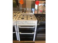 BEKO 60CM ALL GAS COOKER IN WHITE WITH LID