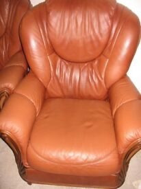 Leather 3 seater sofa 2 chairs and foot stool