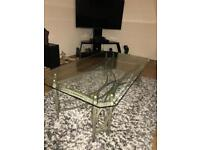 Large glass top coffee table.