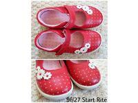 Girls Start Rite red daisy shoes 9,5 / 27 brand new