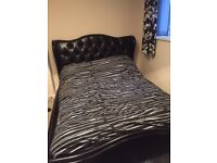 King Size Bed No Mattress Leather Effect