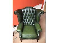 Vintage chesterfield leather armchair. Green