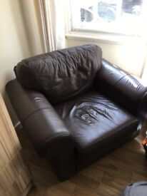 Brown leather armchair/sofa in great condition