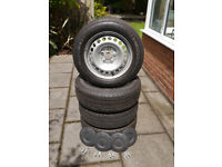 VW T5 Transporter wheels & tyres with good tread, includes bolts and centre caps