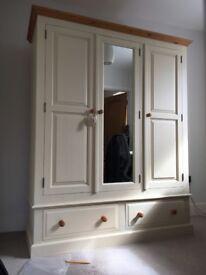 Pine 3 door wardrobe in cream