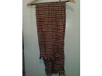 """53.5"""" wool men's scarf, brown chequered"""