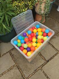 Multi coloured plastic balls.
