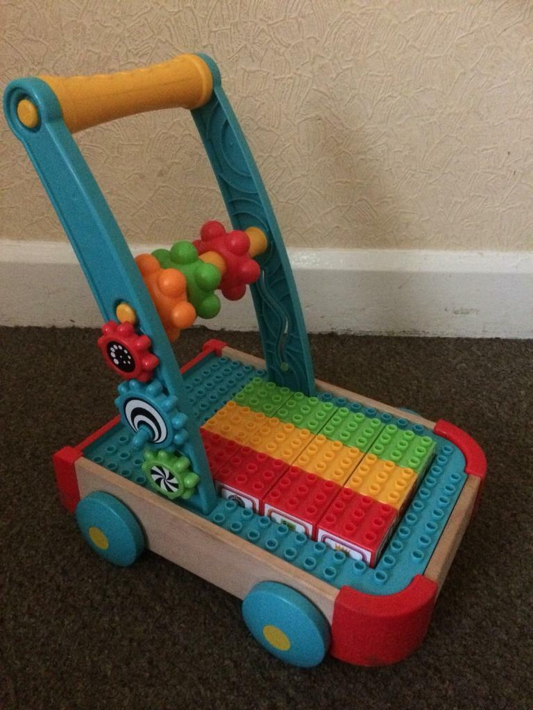 Elc baby walker with removable bricks £4