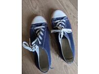 Well-worn ladies' converse-style casual shoes size 8
