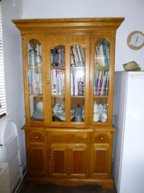 Glass fronted Kitchen Dresser with matching Table and Four Chairs