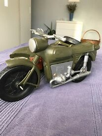 Vintage Action Man Army Motorbike and Sidecar by CHERILEA .