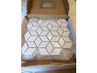 3D Rhombus Gloss White Mosaic Tiles for Sale