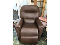 Brown leather recliner armchair, never used