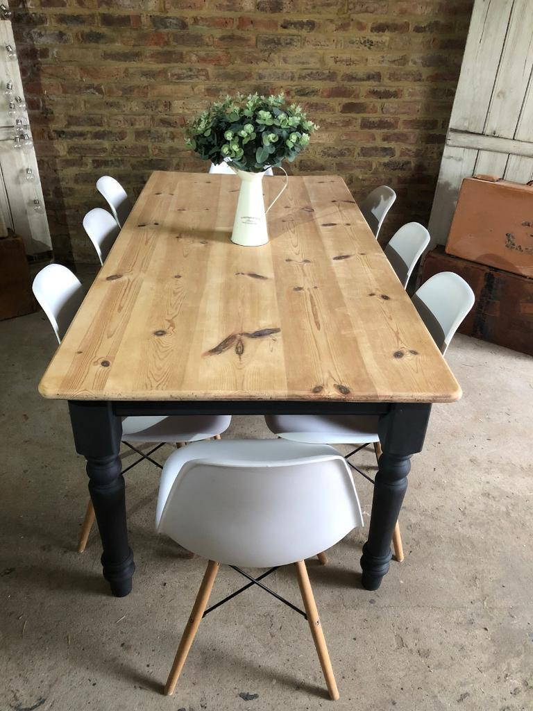7a077eb85 Rustic pine farmhouse kitchen dining table 8 seater