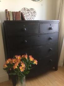 Antique Vintage large bow fronted chest drawers shabby chic. Annie Sloan graphite vintage