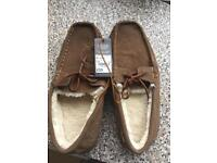 Men's Suede Moccasin slippers Size 11