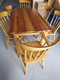 Large country kitchen table with 6 chairs,
