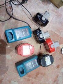 Makita 18V Batteries (x5) and Chargers