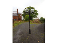 PRICE REDUCED.!!!!!..FOR SALE, LAMP POST AND GLOBES, ALL NEW, SUIT DRIVE/GARDEN/PATIO.
