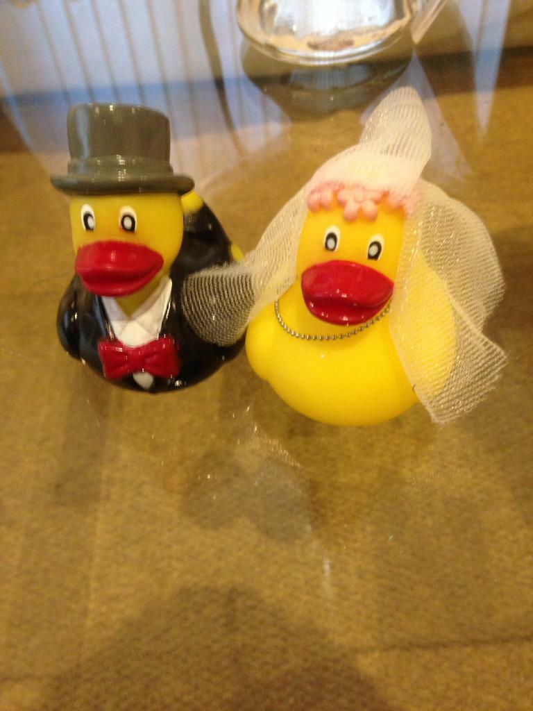 Bride and groom duck