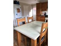 Reclaimed Solid Oak Table and 4 chairs