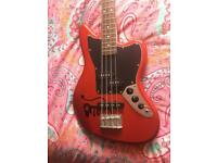 Squier By Fender Jaguar Special Short Scale Bass in Candy Apple Red