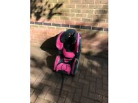 Pink recaro child's car seat