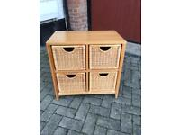 Wooden chest with wicker drawers