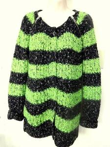 NEW / MAISON SCOTCH $199 MOHAIR BLEND SWEATER / CARDIGAN / M /European / Lime Green Black Striped / Christmas gift woman