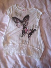 6-7 Years Girls (Primark) Butterfly/Lace Top