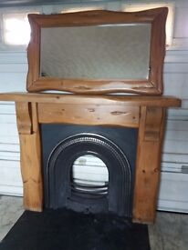 Mexican pine fireplace with matching mirror