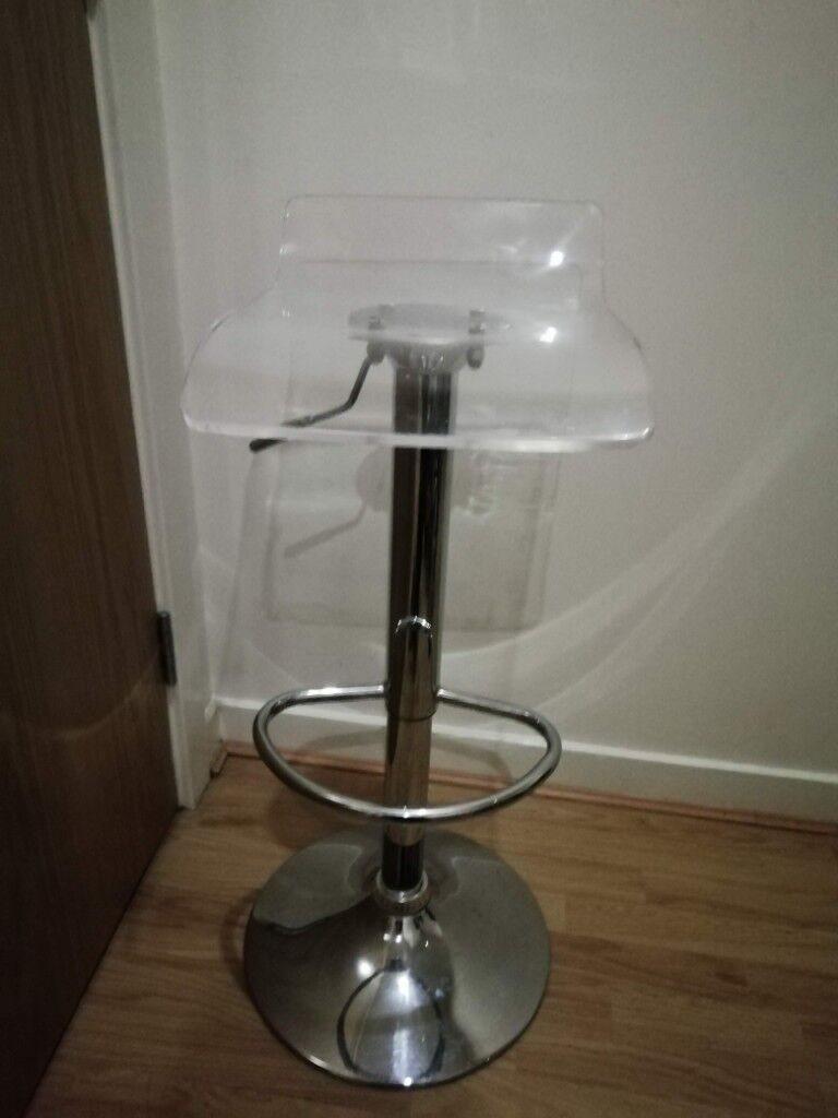 Adjustable Luxury Kitchen Bar Stool With Foot Rest Clear