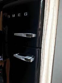 Black gloss Smeg fridge freezer