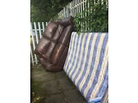 Free 3 seater leather recliner sofa and double mattress