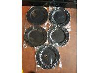 black plastic glitter decoration plates & ribbons