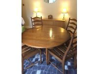 Vintage. Antique Ercol quality drop lead table and 5 chairs. Ladder back chairs. Multi use.