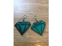 Green jewel shrinky dink earrings