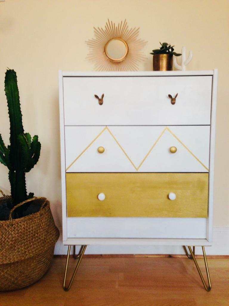 Unique chest of drawers upcycled with hairpin legs
