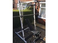 Weights cast. Rack pulley system bench.